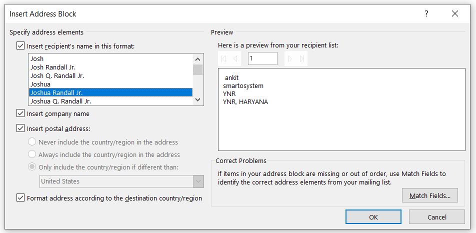 mail merge insert block