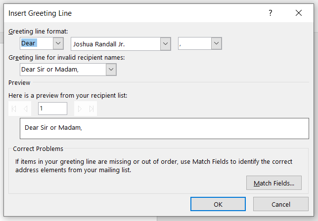 mail merge greeting line