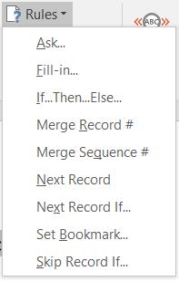 mail merge rules
