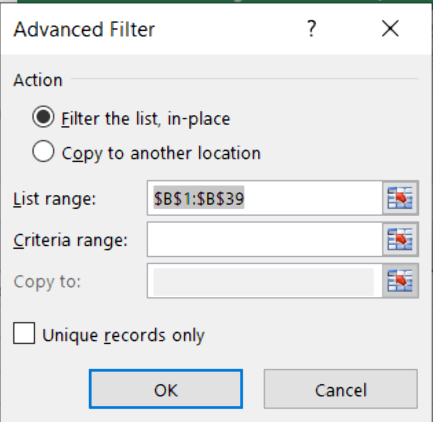 ms excel advance filter