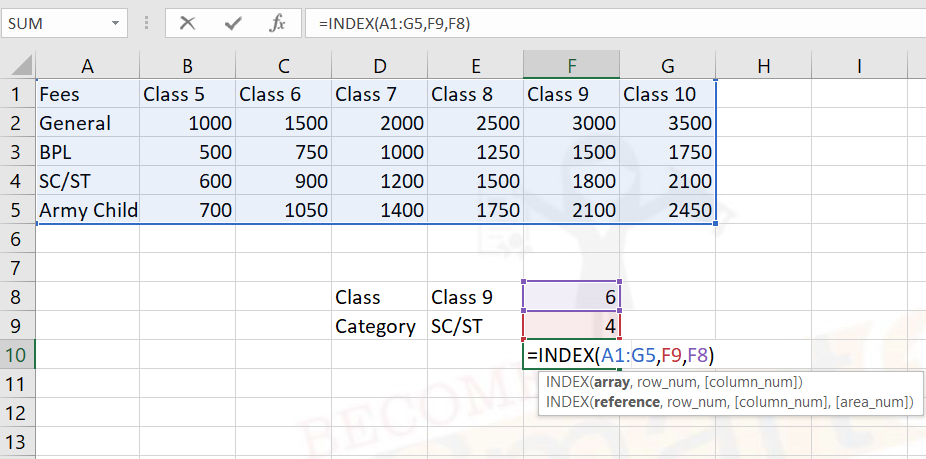 MS excel index function