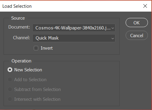 Load selection in photoshop