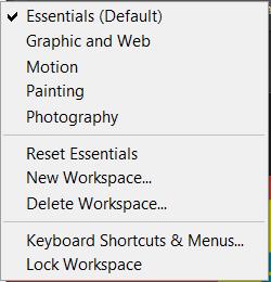 workspace option in photoshop
